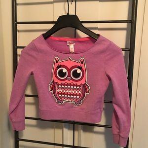 justice wide neck purple owl sweatshirt